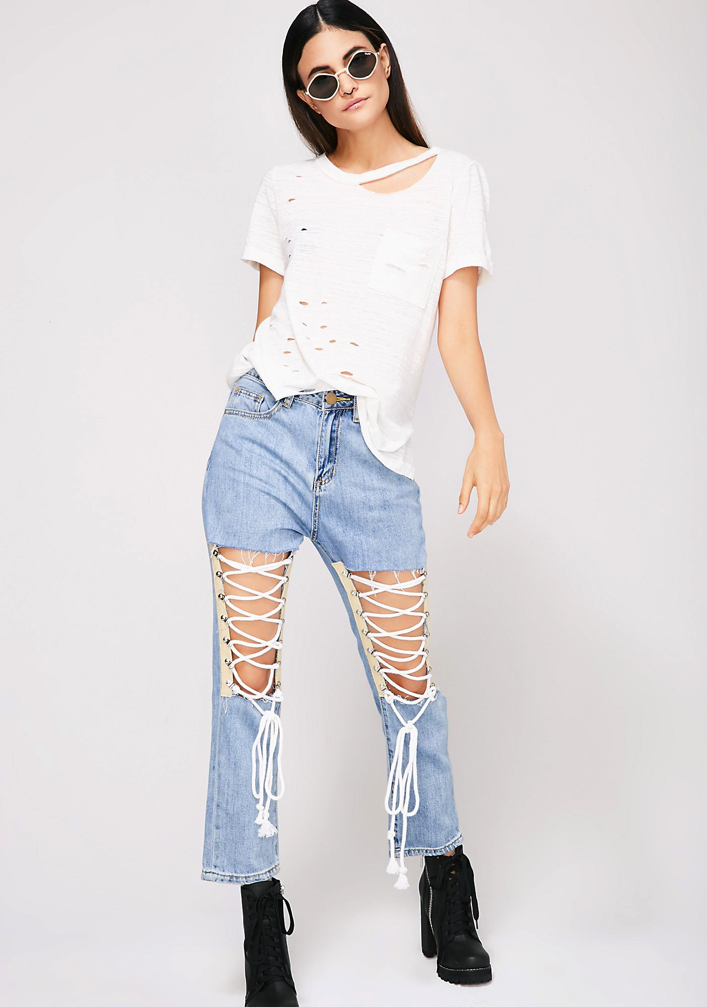 Love Me Knot Lace-Up Jeans