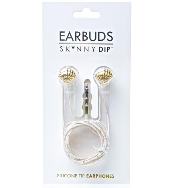 Skinnydip Gold Shell Earbuds