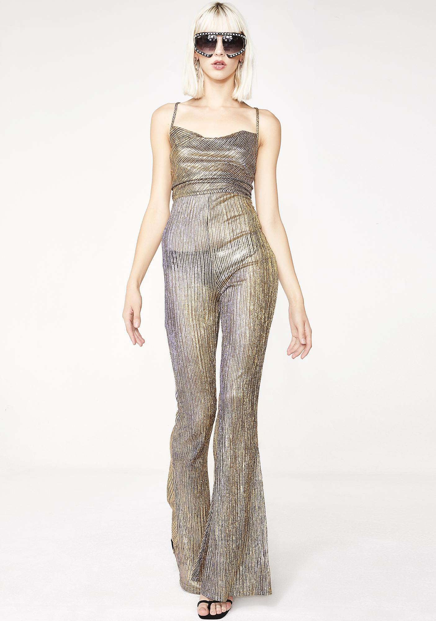 326bb10f98e4 ... Elsie   Fred Baby Jane Gold Flare Jumpsuit ...