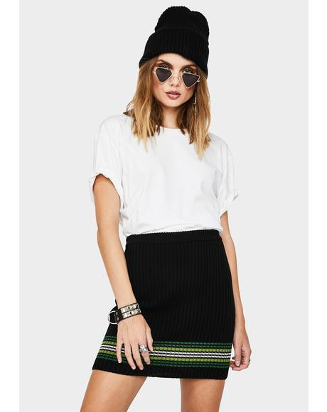 Striped Hem Knit Mini Skirt