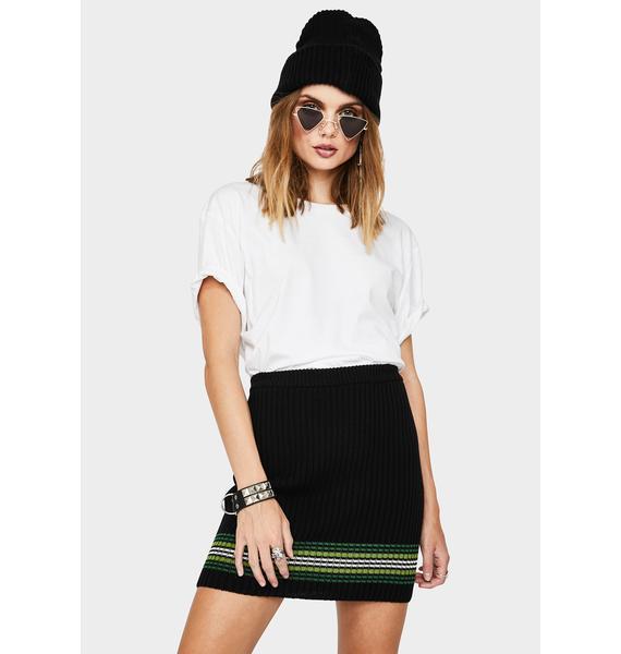 Kickers Striped Hem Knit Mini Skirt