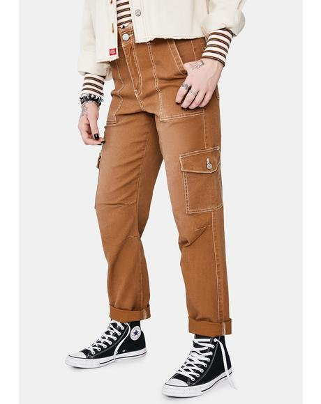 Brown Roll Hem Cargo Pants