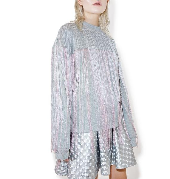 Jaded London Majoris Metallic Fringed Sweater