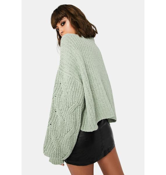 Free People Mint Seasons Change Knit Sweater