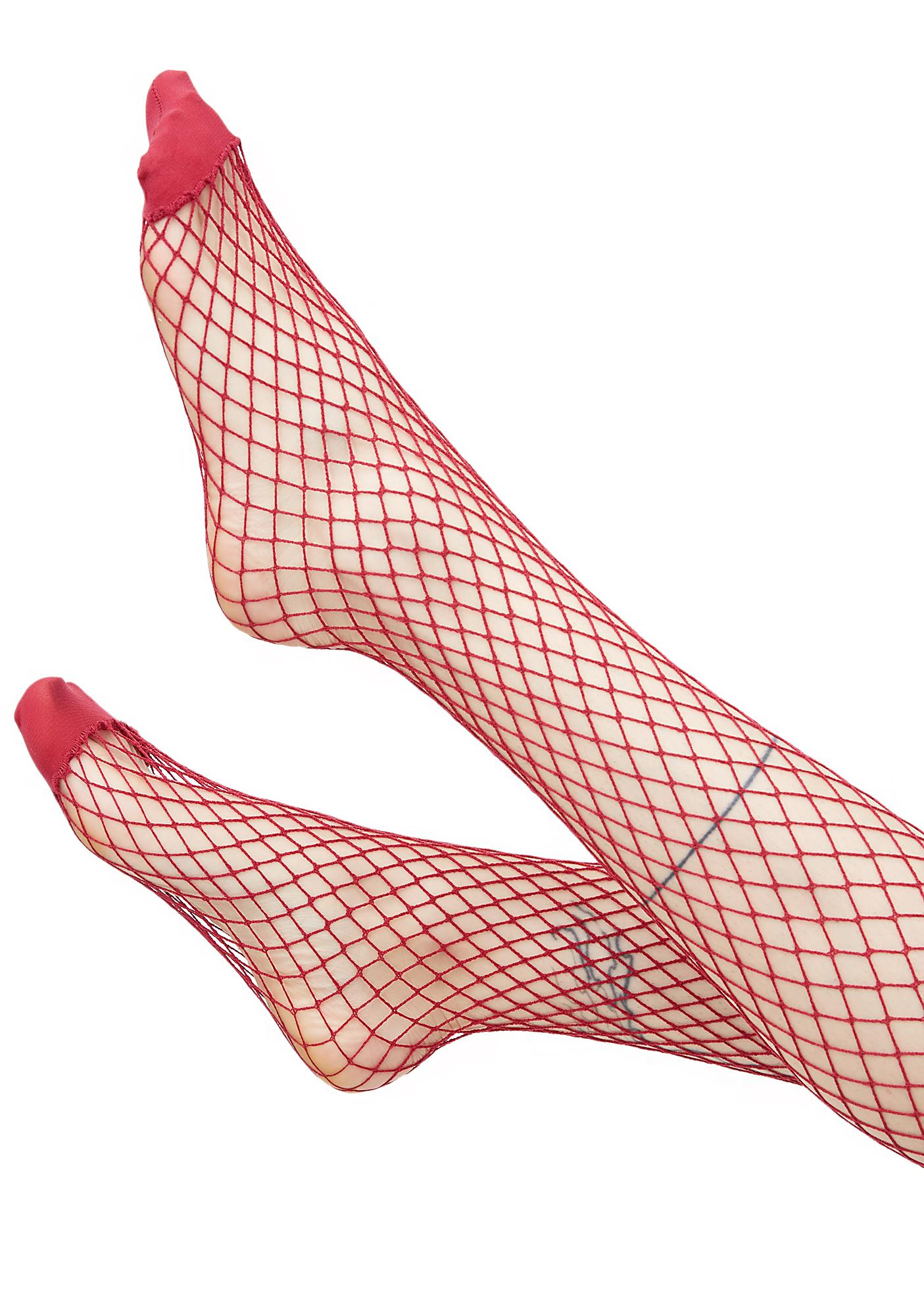 Burgundy Bold Move Fishnet Tights