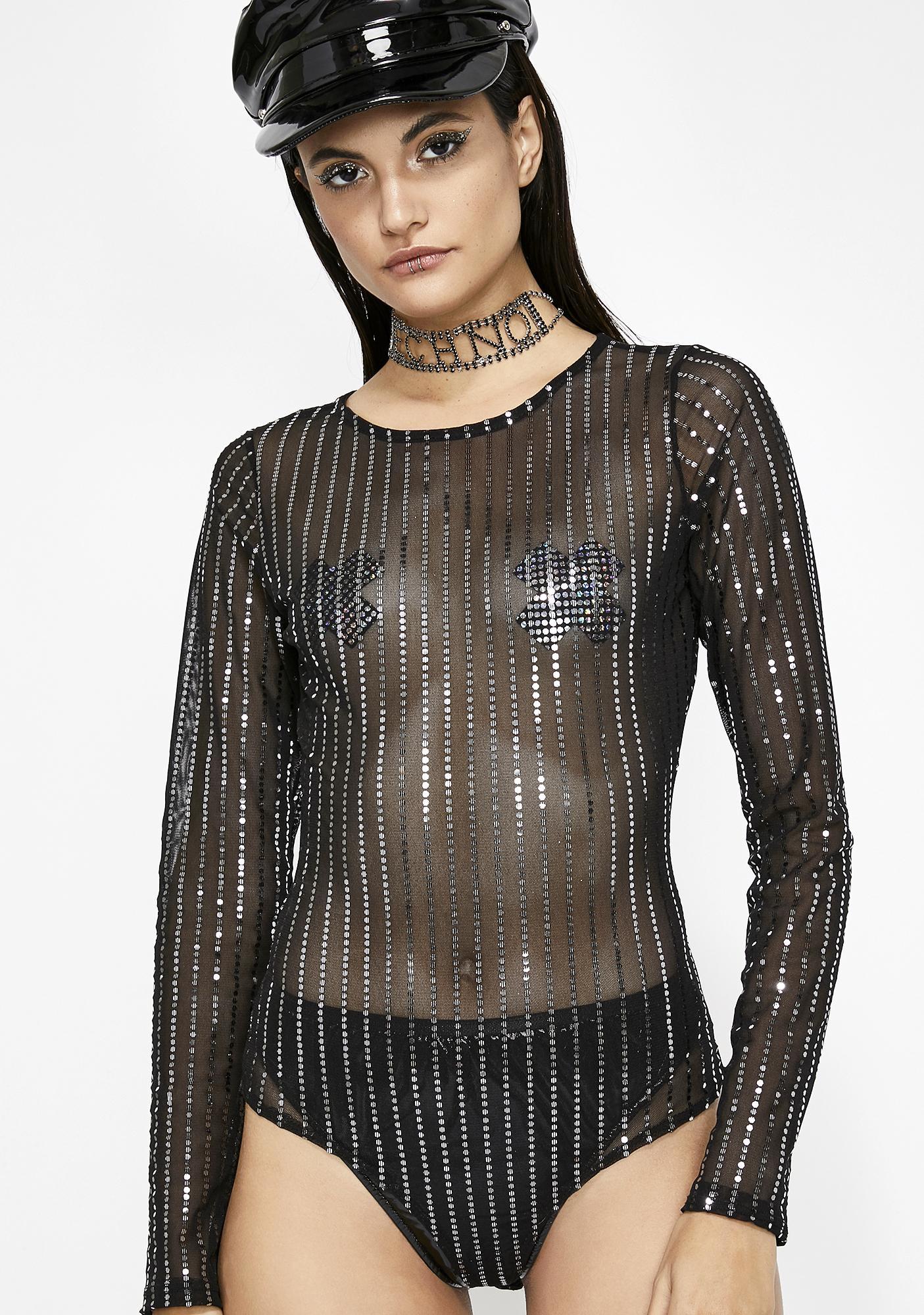 87f6bf79b9 Sequin Sheer Stripe Long Sleeve Bodysuit
