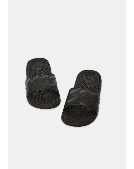 All Black Cool Cat Bold Women's Slides