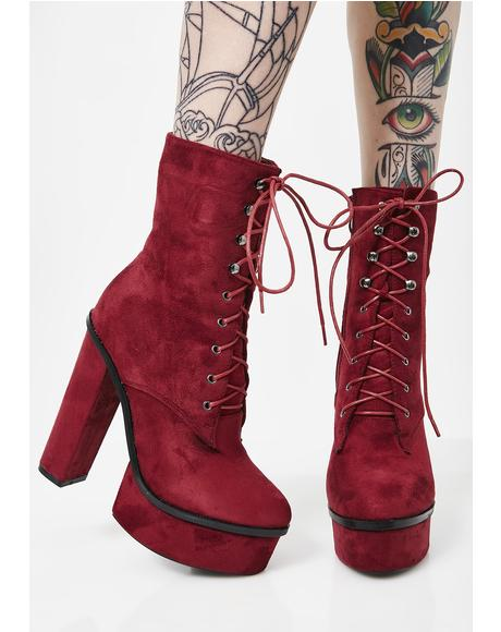Wine All In It Platform Booties