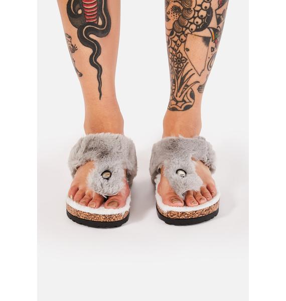 Gray Cuddly Mornings Fuzzy Slides