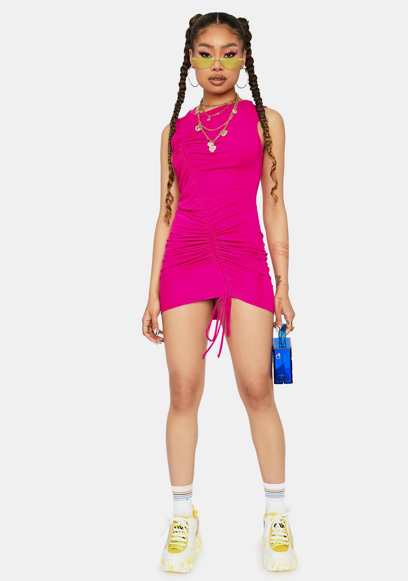 Fuchsia Ride This Feeling Ruched Tank Dress