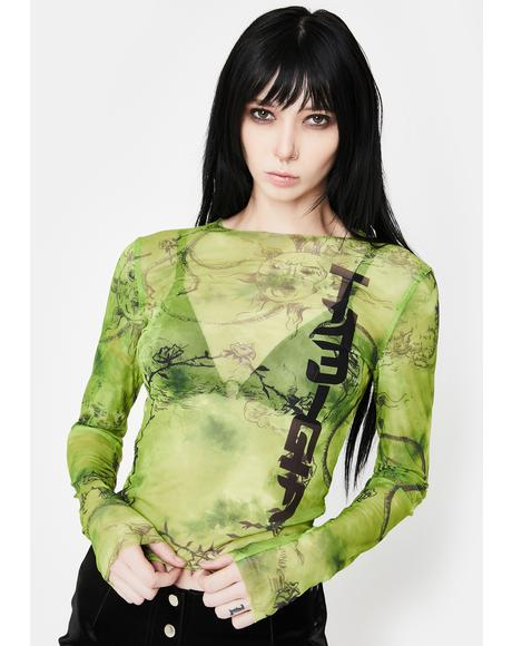 Green Crescent Mesh Long Sleeve Top