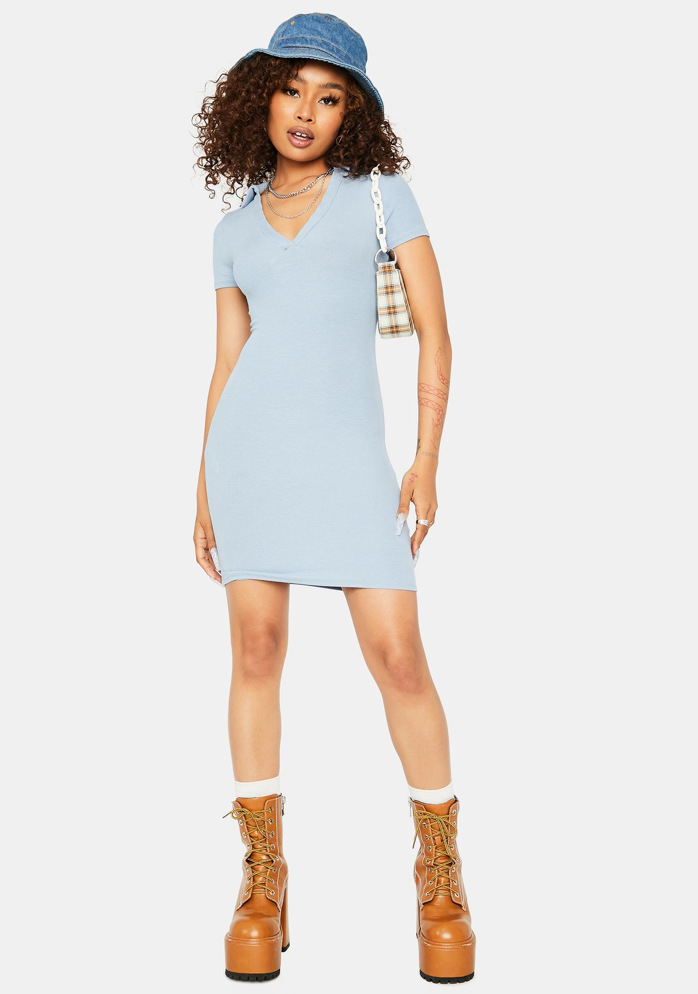 Sky Keep it Cheeky Collared Ribbed Dress