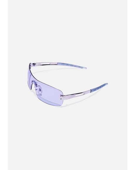 Pale Blue Shield Sunglasses