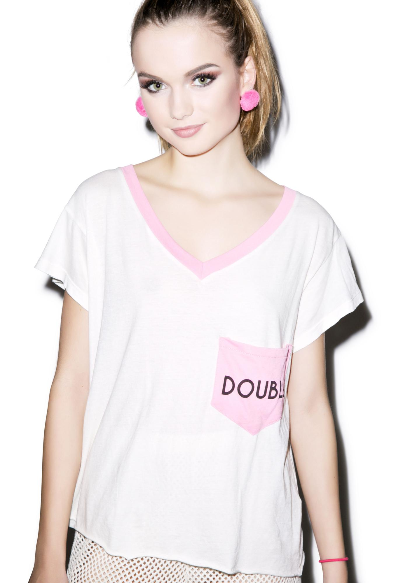 Wildfox Couture Double Romeo Pocket V-Neck Tee