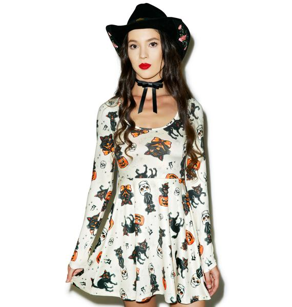 Sourpuss Clothing Black Cats Skater Dress