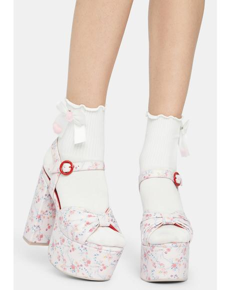 Blanc Send My Love Bow Crew Socks