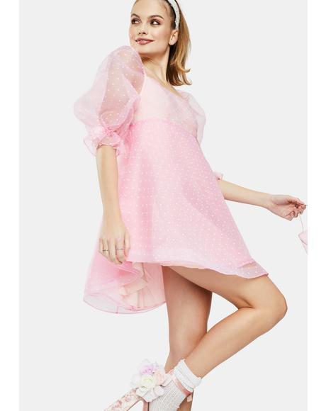 The Pink Flirt Puff Sleeve Mini Dress