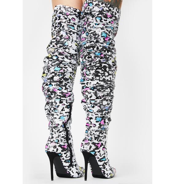 Fierce Glitter Diet Knee High Boots