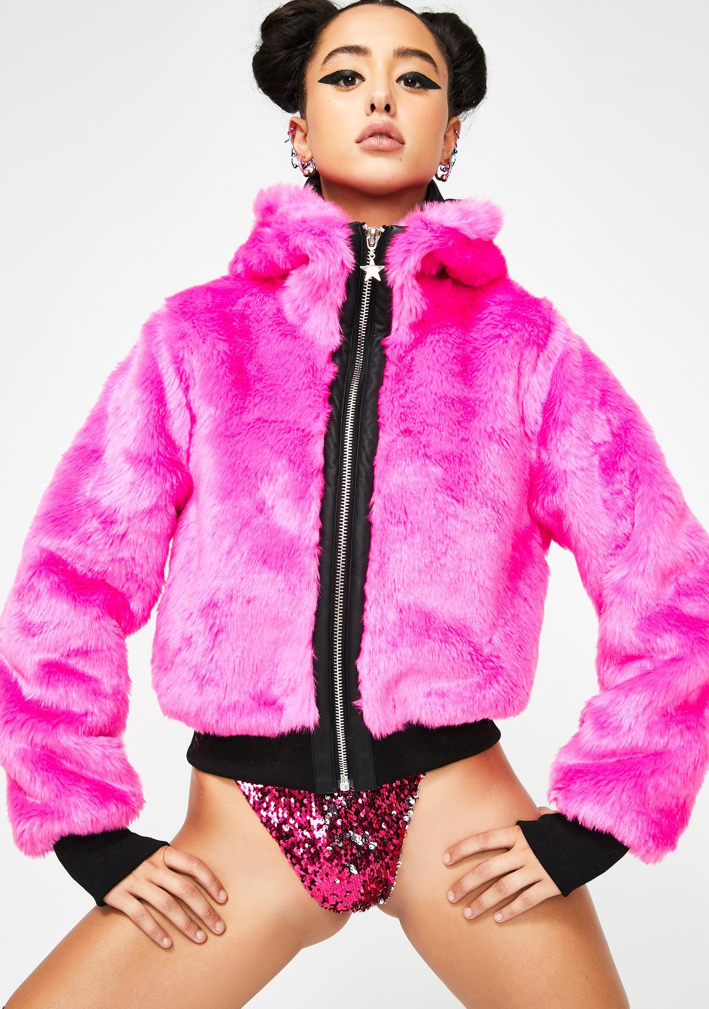 Club Exx Sweet Nightcall Neon Bomber Jacket