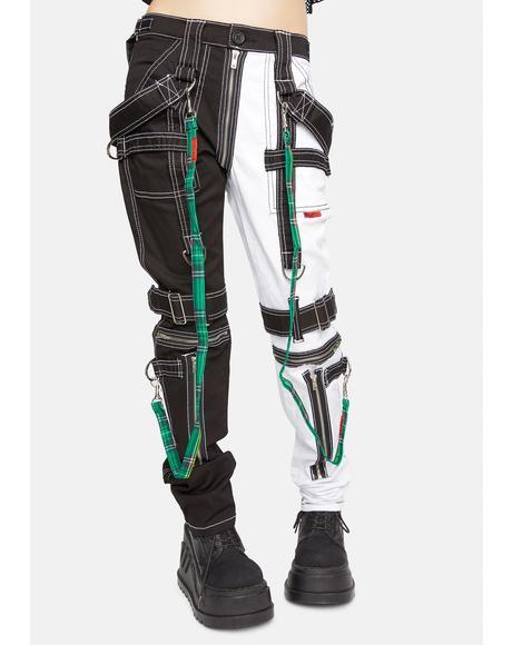 Green Plaid Bondage Pant Straps