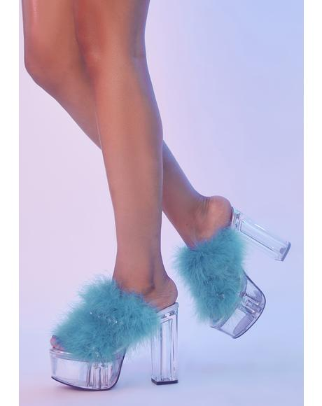 Nobody's Wifey Marabou Platform Heels