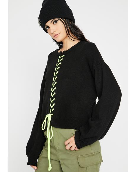 All The Time Lace-Up Sweater