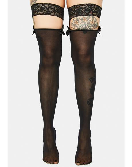 Dance Floor Craze Lace Stockings Bow Suspenders