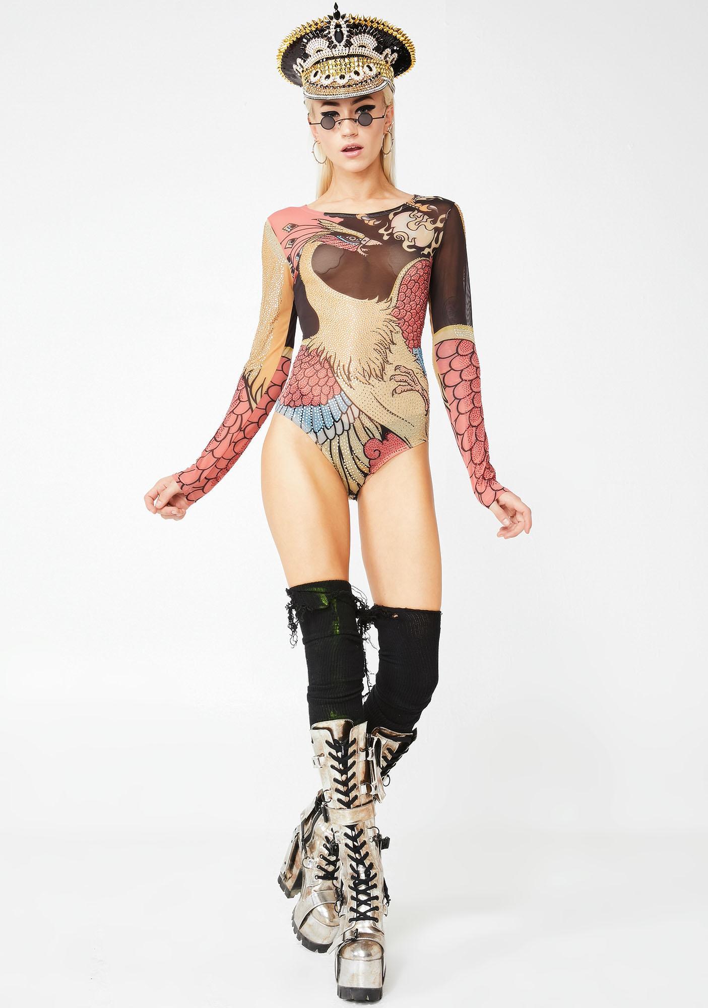 Kiki Riki Bird Of Night Sheer Bodysuit
