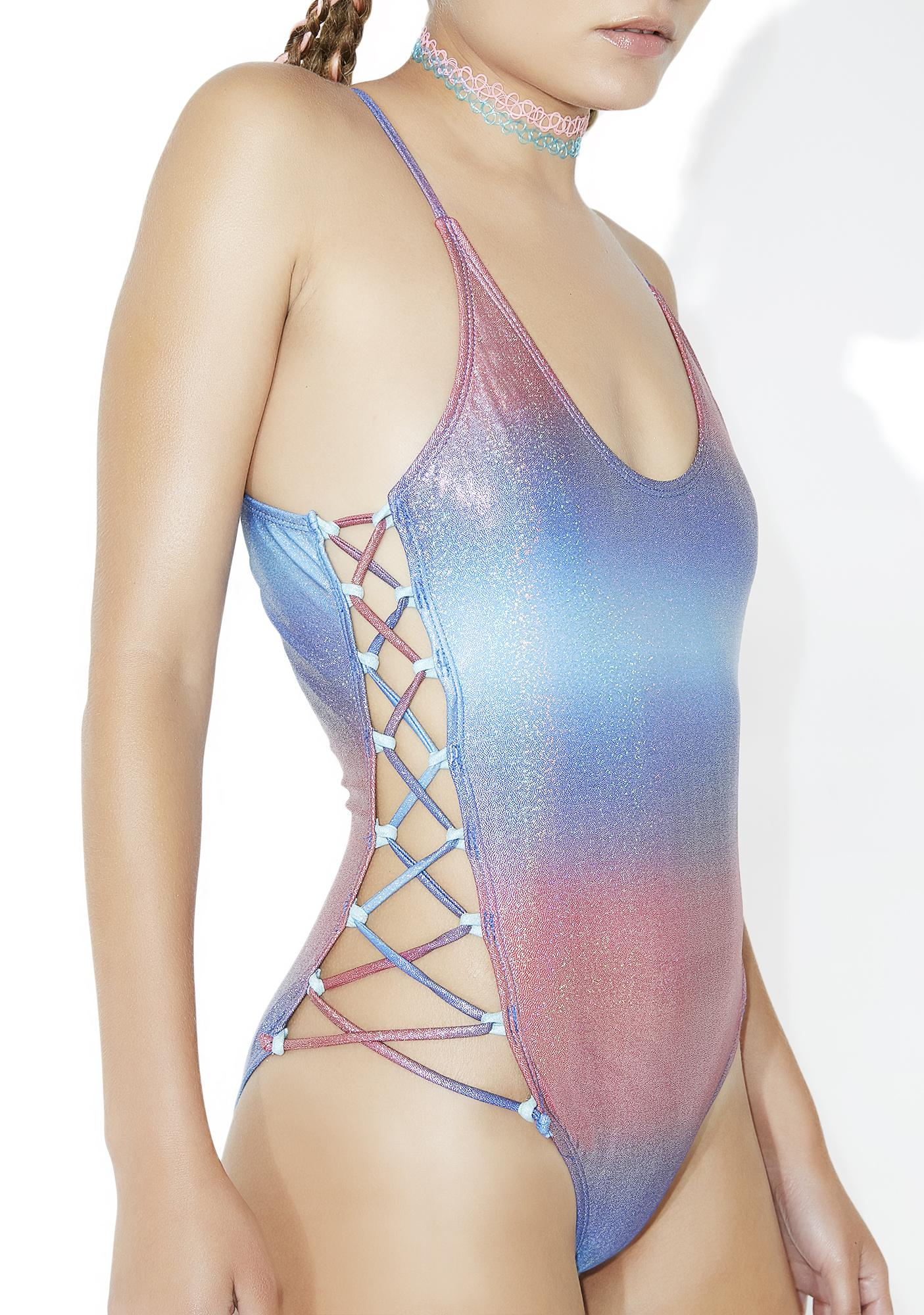 Candy Sidetracked Lace-Up One Piece