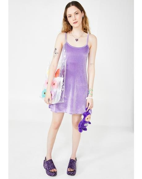 Lilac Cutie In Command Velvet Dress