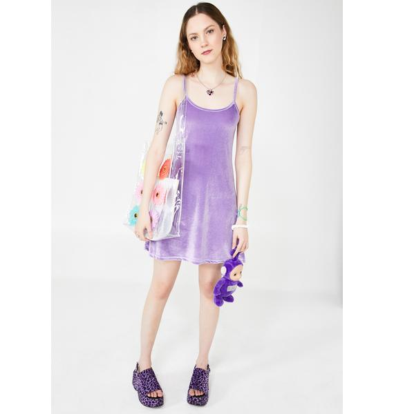 dELiA*s by Dolls Kill Lilac Cutie In Command Velvet Dress