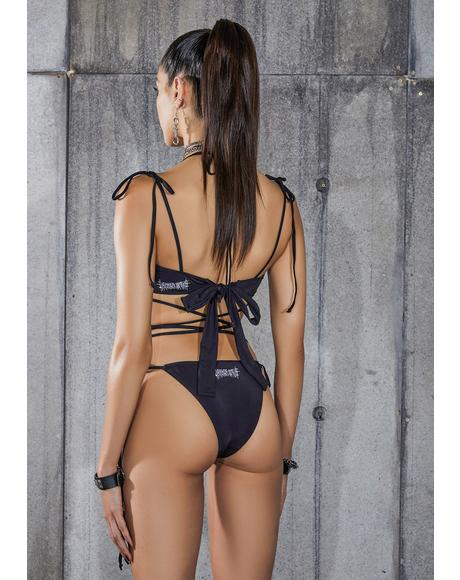 Snare Cut-Out Tie Strap Bikini Set