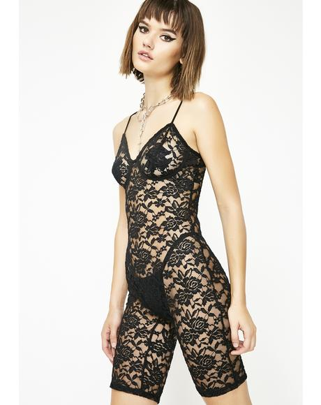 Sinful Neon Seduction Lace Romper