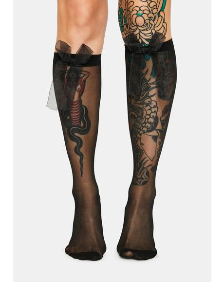 Dark Dolled Up Knee High Socks