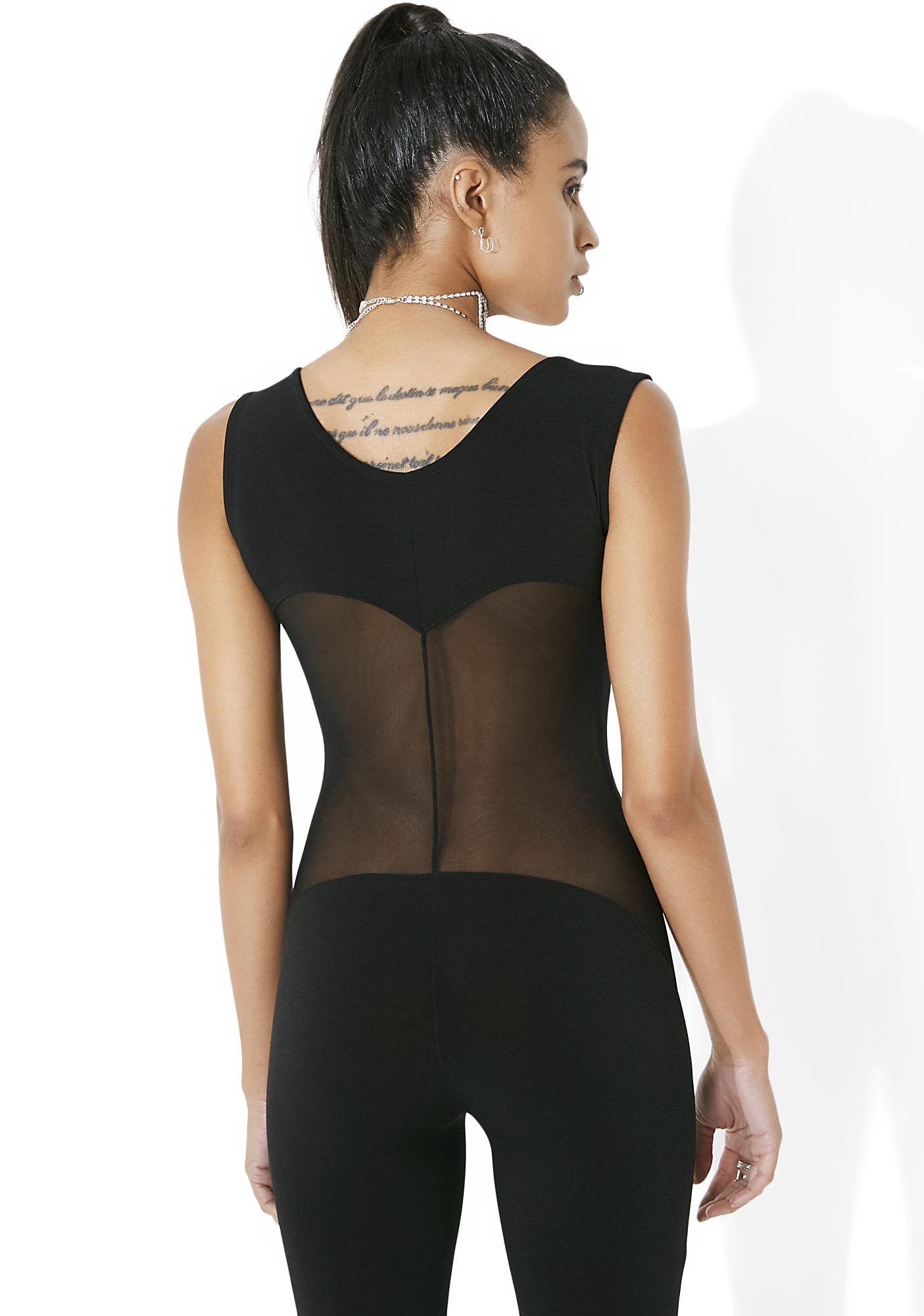 Side Eye Mesh Panel Jumpsuit