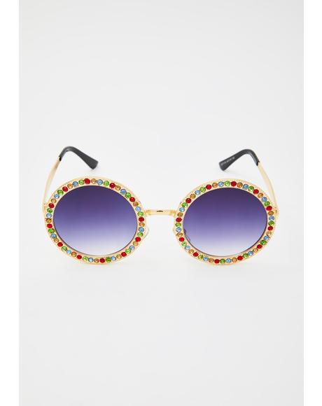 Hippie Vision Rhinestone Sunglasses