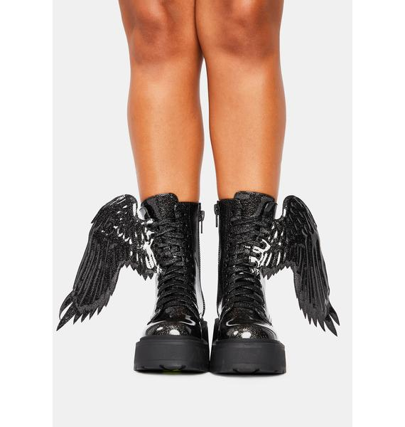 Trickz N' Treatz Angel Of Darkness Winged Boots