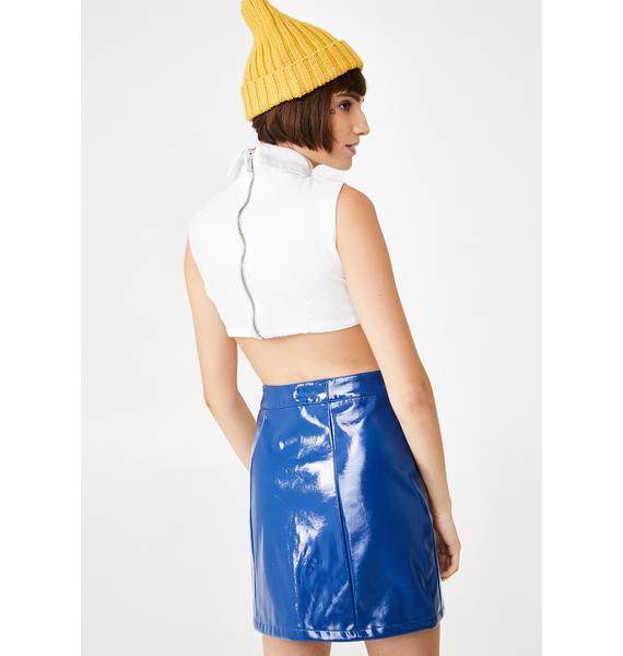 Lazy Oaf Feeling Blue Vinyl Skirt