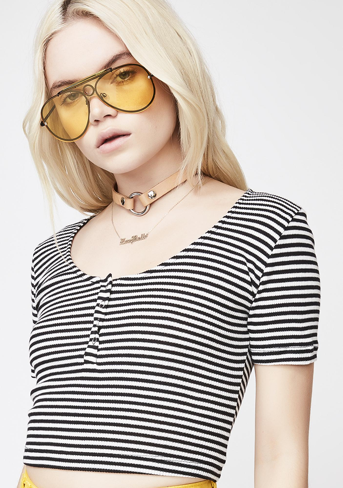 Nothin' To It Striped Crop Top
