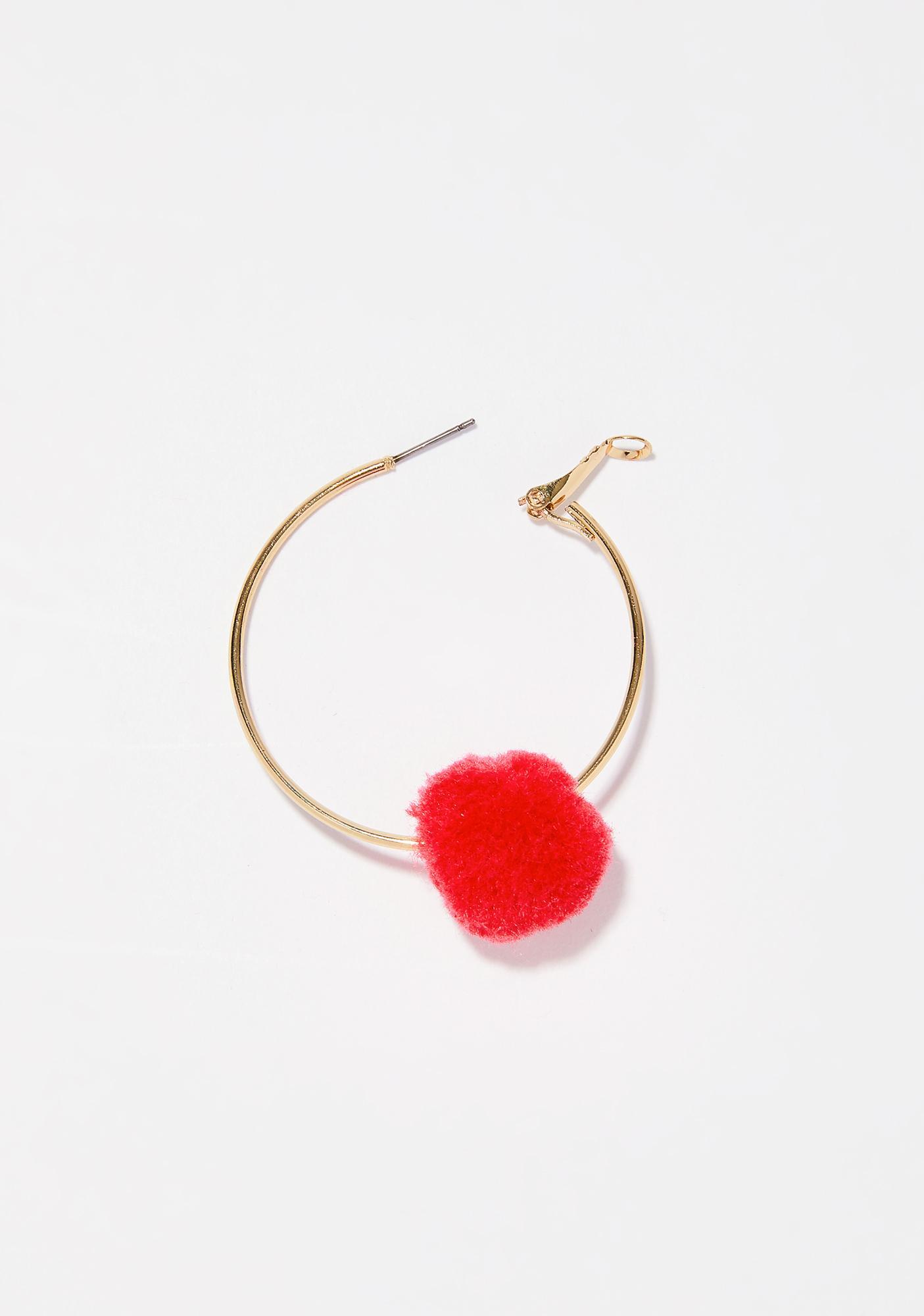 Heart Lil' Fluff Ball Earrings