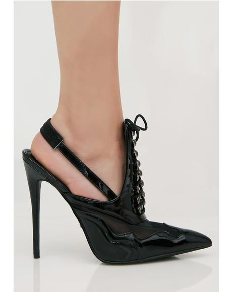 Italia Slingback Lace-Up Heels