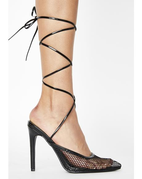 Black Feisty Lace Up Heels