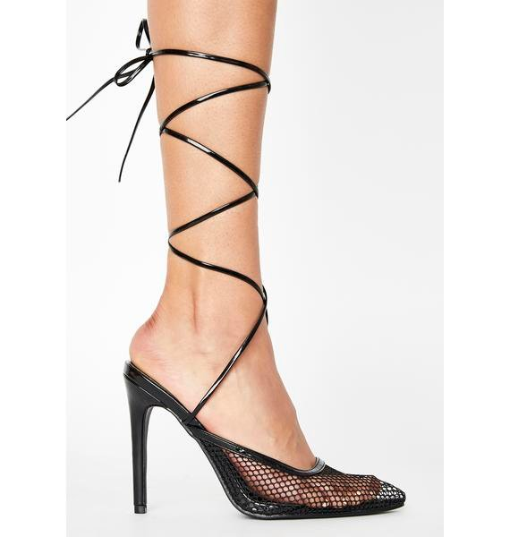 Public Desire Black Feisty Lace Up Heels