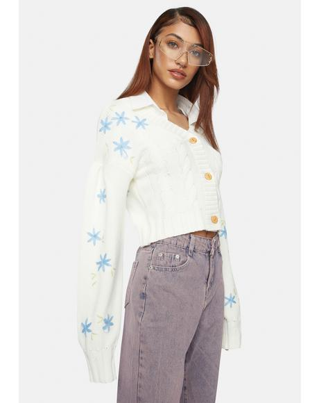 Flower Cable Knit Cardigan