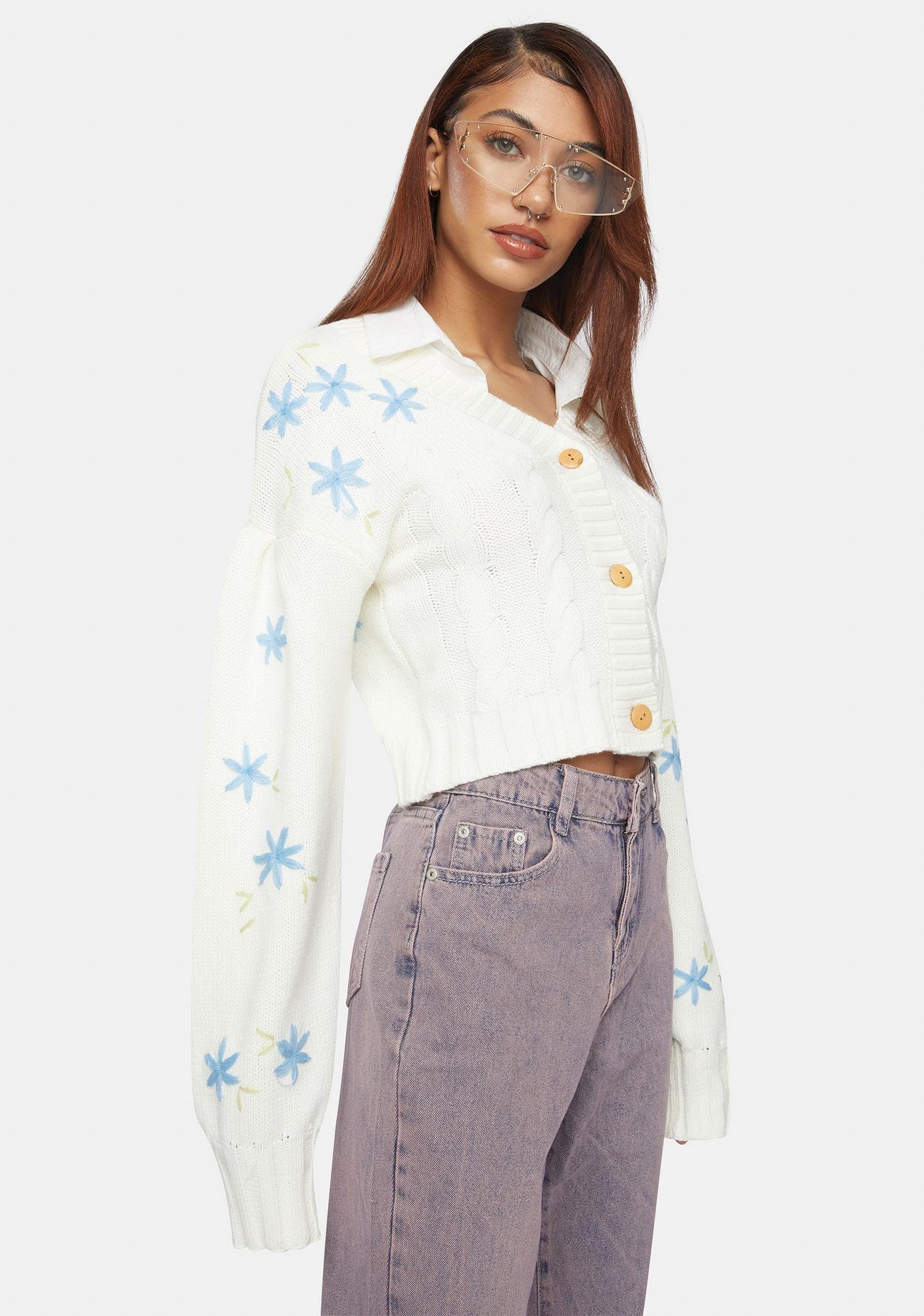 Glamorous Flower Cable Knit Cardigan