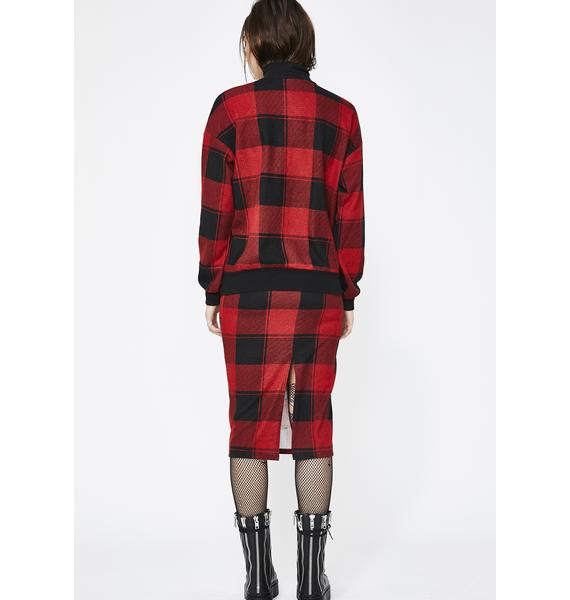 Out My Mind Plaid Pullover