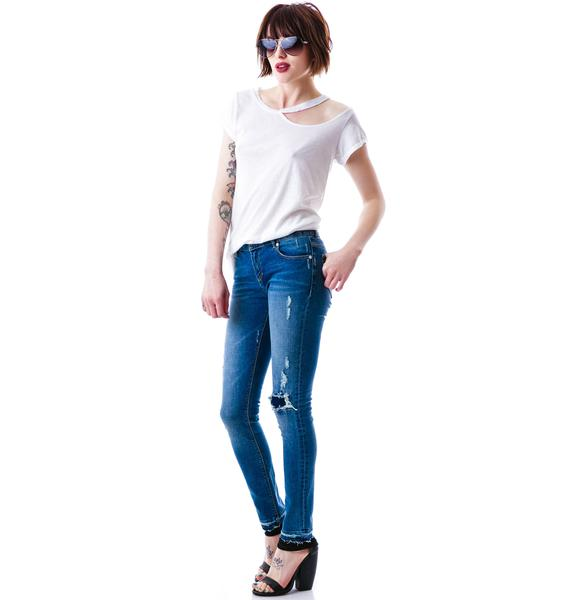 Zoe Karssen Distressed Low Rise Ankle Skinny Jean