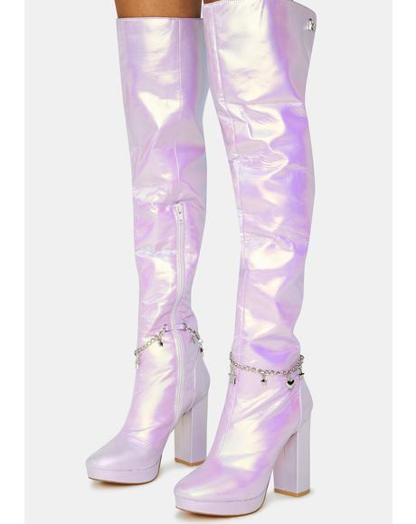 Lilac Fairy Star Thigh High Boots