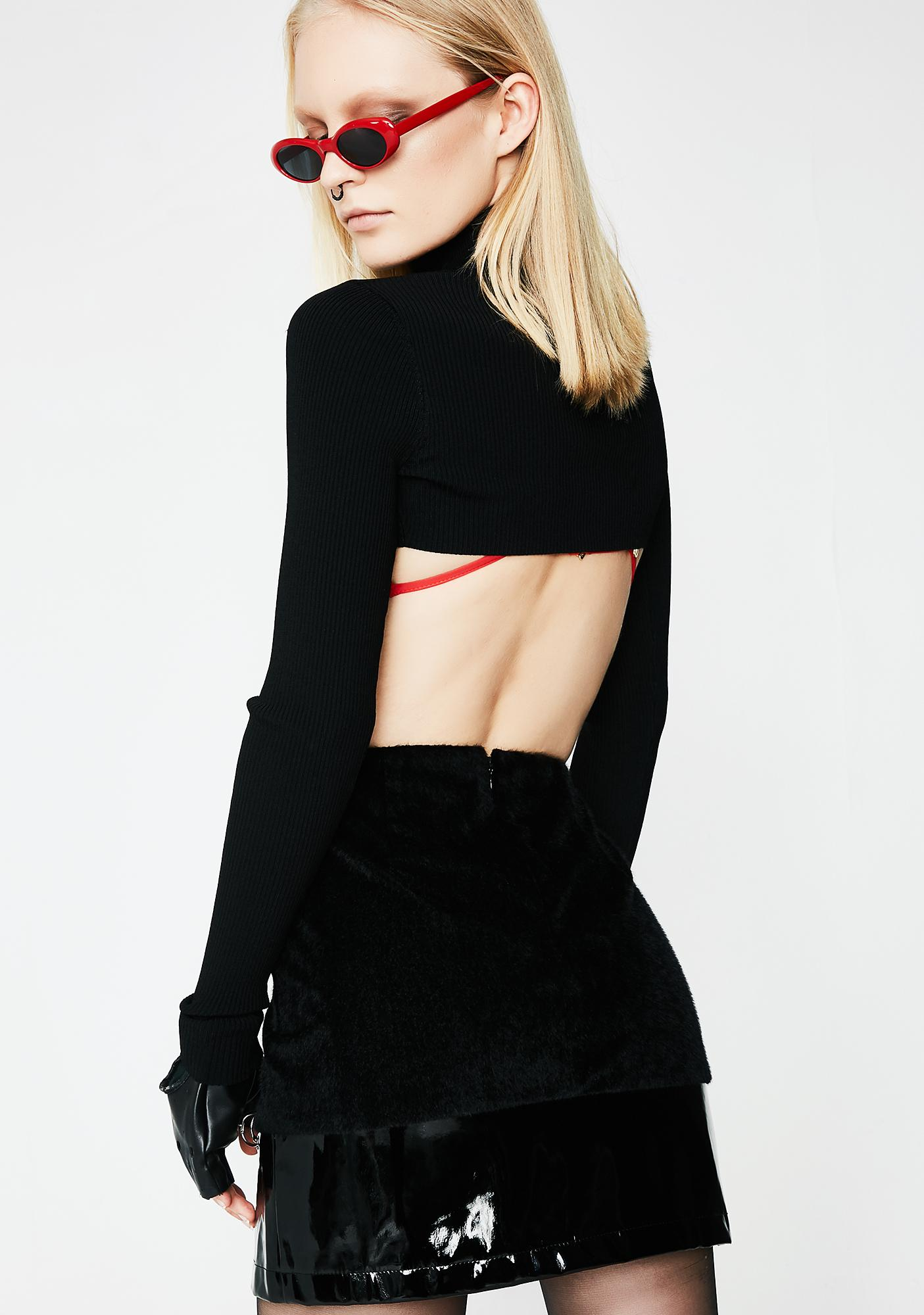 831f3780e61ba Patent Panel O Ring Black Mini Skirt