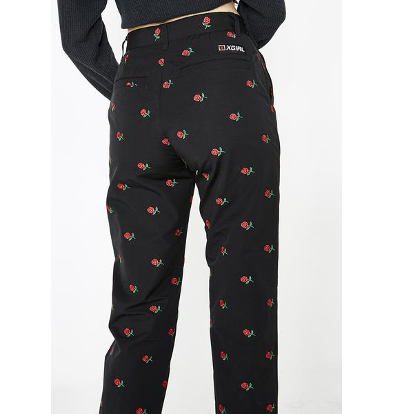 x-Girl Rose Embroidered Pants